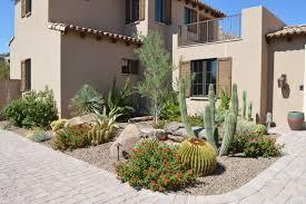 Front Yard Desert Landscape Mediterranean Exterior Desert Highlands Southwestern Landscape Phoenix By Pascale