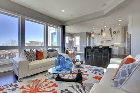 orange and gray area rug living room transitional with jonathan