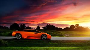 Lamborghini Murcielago Purple - orange lamborghini murcielago in the purple sunset wallpaper