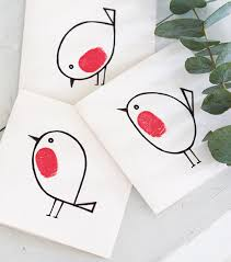 handmade thumbprint robin red breast christmas cards kid stuff