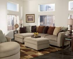 Square Sectional Sofa Inspiring Living Room Store Using Brown Linen Upholstery Covering