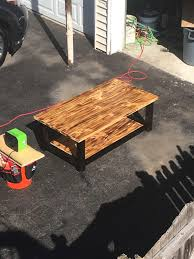 finished burnt wood pine coffee table from a distance woodworking