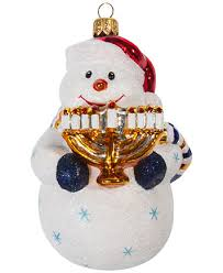 to the world interfaith snowman with menorah ornament