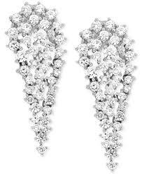 diamond cluster earrings wrapped in diamond cluster drop earrings 2 ct t w in 14k