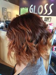 auburn color with some golden balayage finished with a bob hair