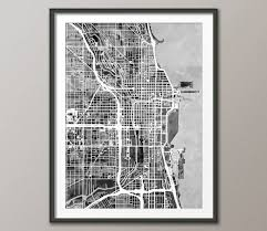 Chicago Map Art by Chicago Map Chicago Illinois City Street Map Art Print 2333 By