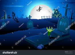 illustration halloween night graveyard mummy flying stock vector