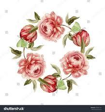Tulip Wreath Vintage Flower Wreath Peony Tulip Wreath Stock Illustration
