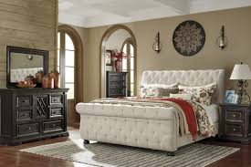 Tufted Sleigh Bed King Signature Design By Willenburg Linen King Upholstered