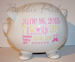 monogrammed piggy bank personalized piggy bank baby birth stats gift baby girl