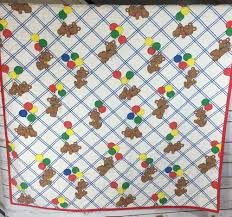 vintage 1980s baby crib quilt blanket teddy bears balloons primary