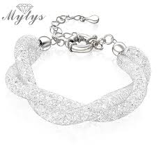 white gold crystal bracelet images Mytys silver wire mesh tube filled with crystal chain bracelet jpg