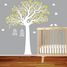 bird cage wall decal etsy vinyl wall decal stickers bird yellow tree set nursery sticker with cage
