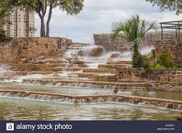 beautiful waterfalls and rock gardens at the tower of the americas