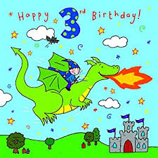 twizler 3rd birthday card for boy with dragon castle and