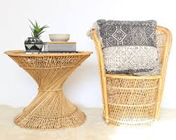 Rattan Accent Table Vintage Side Table Etsy