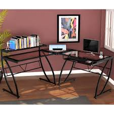 Glass L Shaped Desk Amazon Com Z Line Belaire Glass L Shaped Computer Desk Kitchen