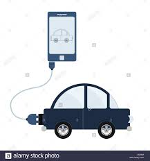 car connected to a cell phone through a usb cable outline of the