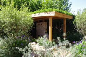 open sided flat roof gazebo with green roof pergolas