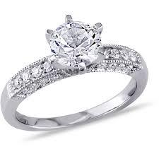 1 Carat Cushion Cut Engagement Ring Miabella 1 3 8 Carat T G W Created White Sapphire And 1 4 Carat