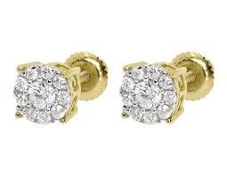 illusion earrings diamond 14k yellow gold mens diamond solitaire 5mm studs