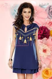 rochii casual rochie casual bleumarin cu ciucuri aurii