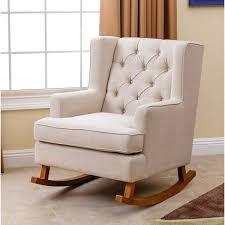 Beige Wingback Chair Living Thatcher Beige Fabric Rocker Chair