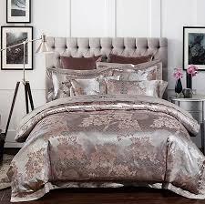 Jacquard Bed Set Silver Luxury Wedding Bedding Set Satin Jacquard Bedspread