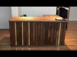 Wood Reception Desk Pallet Wood Reception Desk With Brass Ikea