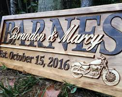 personalized motorcycle gifts motorcycle wedding sign harley