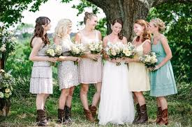 casual rustic wedding dresses country wedding with mismatched bridesmaid dresses wedding