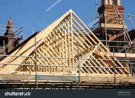 gable roof timber frame under construction stock photo 6900004