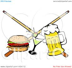 cartoon cocktail clipart of a cartoon hamburger cocktail and beer and crossed