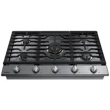 Gas Cooktop Dimensions Samsung 36 In Gas Cooktop In Black Stainless Steel With 5 Burners