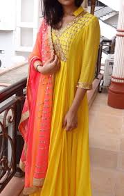 yellow color combination elegant anarkali dresses with trending color combinations
