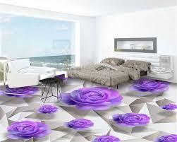 Schlafzimmer Lila Beibehang 3d Bodenbelag Erweiterte Design Tapeten Lila Rosen