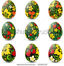 Russian Easter Egg Decorations by Easter Eggs Icon Set Decorated Traditional Stock Vector 120963106
