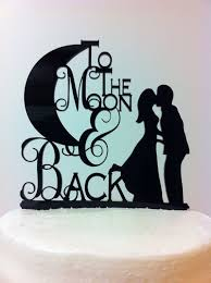 moon cake topper silhouette to the moon back groom acrylic wedding