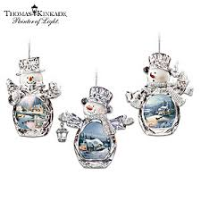 kinkade winter reflections snowman ornament collection