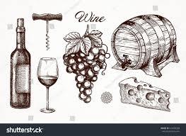 wine glass wine bottle vector ink stock vector 614956208