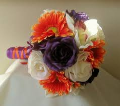 Purple Wedding Bouquets Purple And Orange Bridal Bouquet Rose And Gerbera Daisy Bouquet