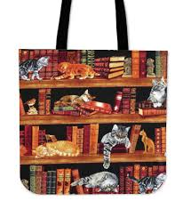 cats on bookshelves tote bags u2013 us gearlaunch