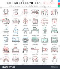Furniture Color by Vector Interior Furniture Color Line Outline Stock Vector