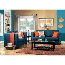 Living Room Sets Made In Usa Furniture Of America Palermo Livingroom Set In Dark Teal Local