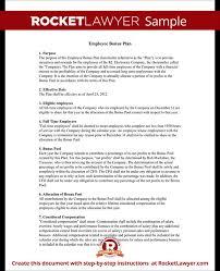 employee bonus plan bonus plan for employees template