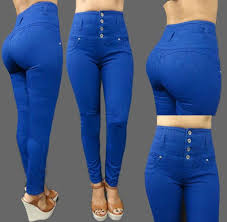 High Waisted Colored Jeans High Waisted Stretch Jean Style Pants Plus Available Exposed