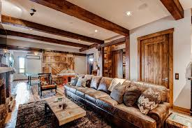 impressive brown shag rug family room rustic with wood beams