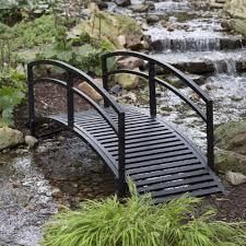 outdoor garden bridge metal 8ft backyard decor walkway black pond
