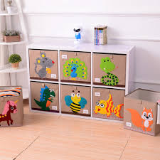 kid toy storage 3d embroidery cartoon folding linen storage box clothes organizers