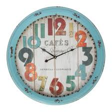 buy cafe blue metal large wall clock online purely wall clocks
